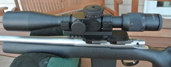 U.S. Optics LR-17 .32-17x44mm in Bobro dual lever mount atop Remington 5R