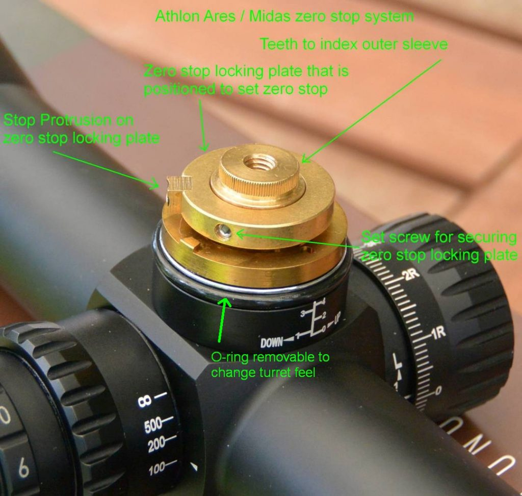 The zero stop system used on the Athlon Midas and Ares scopes (this pictured on an Ares BTR 4.5-27x50 FFP IR Mil, O-ring no longer present in either scope line)
